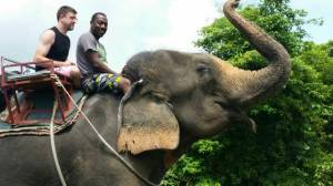 "Nick and I on an ""amazing"" Koh Chang elephant"