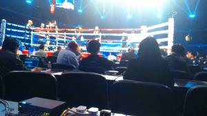 View from ringside at Amnat v Zou